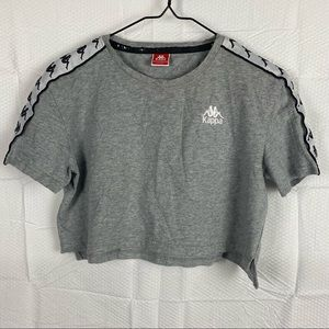 Women's Kappa Gray Short Sleeve Round Neck Crop Top Size Small